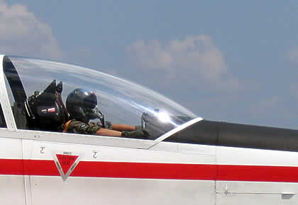 Pilot sitting in the Pilatus PC9